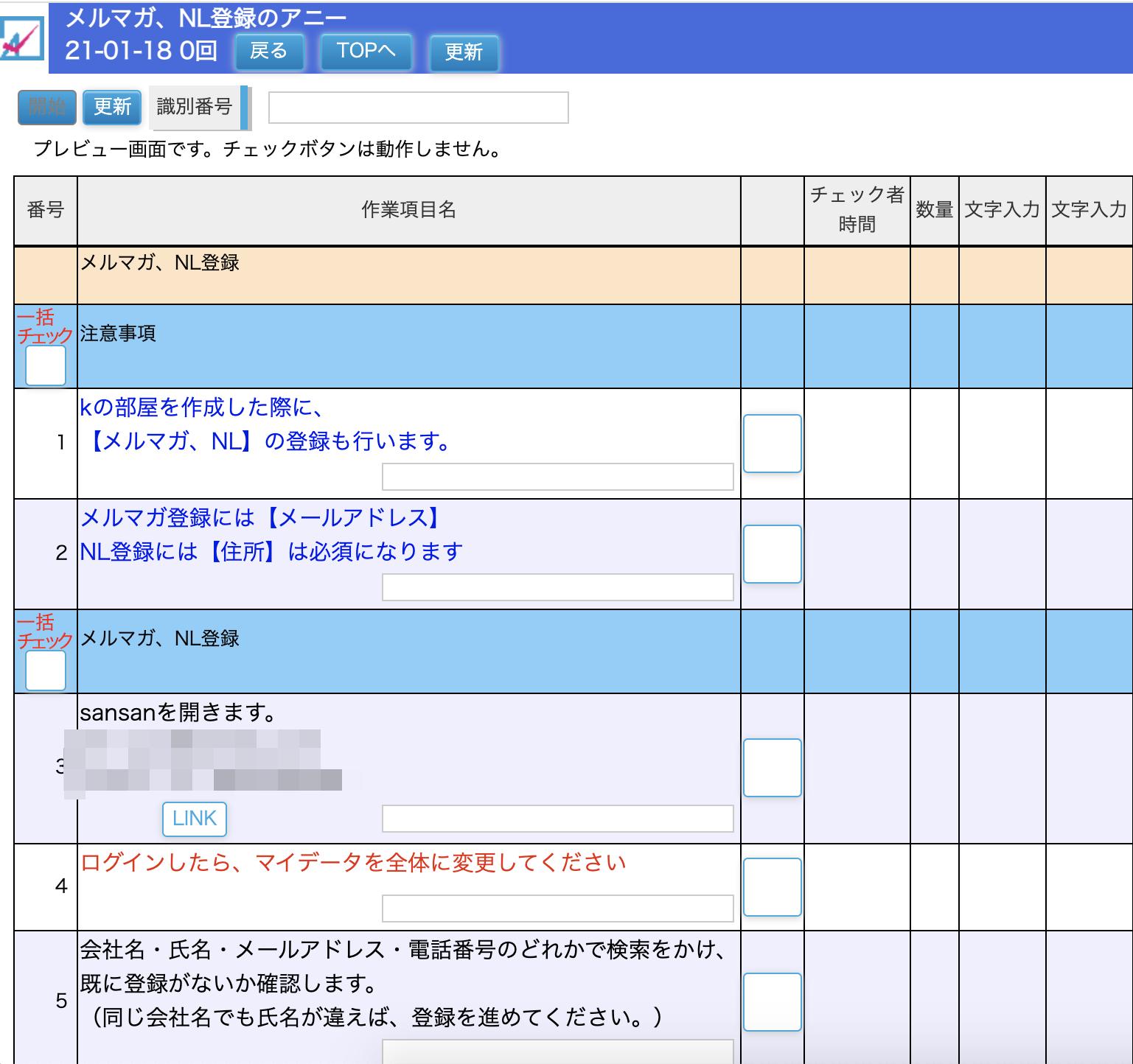 重要項目の文字装飾についてのチェックリスト